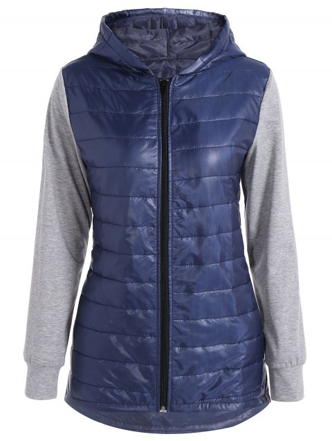 Hooded Padded Jacket - DEEP BLUE L