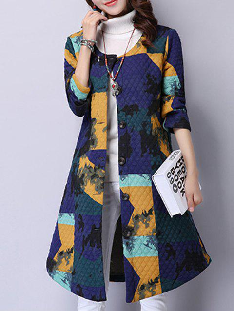 Printed Button-Down Pocket Design Coat - BLUE L