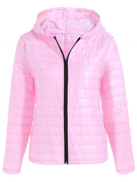 Slim Quilted Winter Jacket with Hood - PINK M