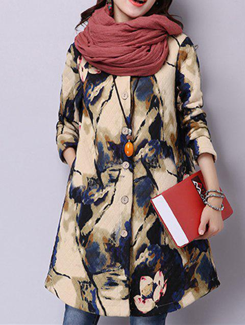 Chinese Painting Button-Down Textured Coat - APRICOT M