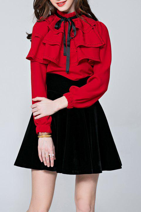 Flounce Topstitching Steampunk Blouse - RED S