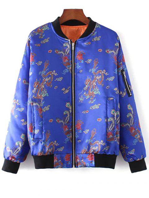10f1aa786 2019 Chinese Dragon and Phoenix Print Padded Jacket In BLUE M ...