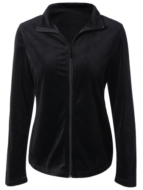 Slimming Fit Zip Up Jacket - BLACK XL
