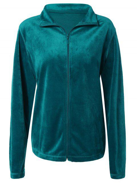 Slimming Fit Zip Up Jacket - GREEN S