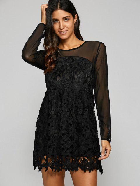 See Through Crochet Fit and Flare Dress - BLACK S
