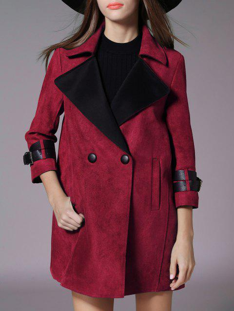 Lapel Pocket Design Suede Coat - DEEP RED S