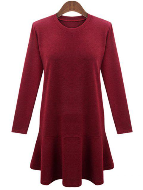 Long Sleeve Plus Size Flare Dress - RED 3XL