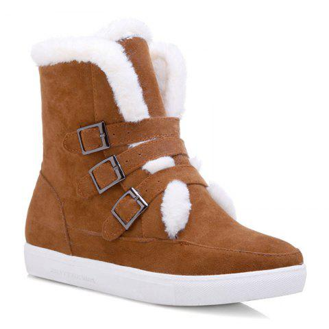 Fuzzy Buckle Straps Suede Short Boots - LIGHT BROWN 40