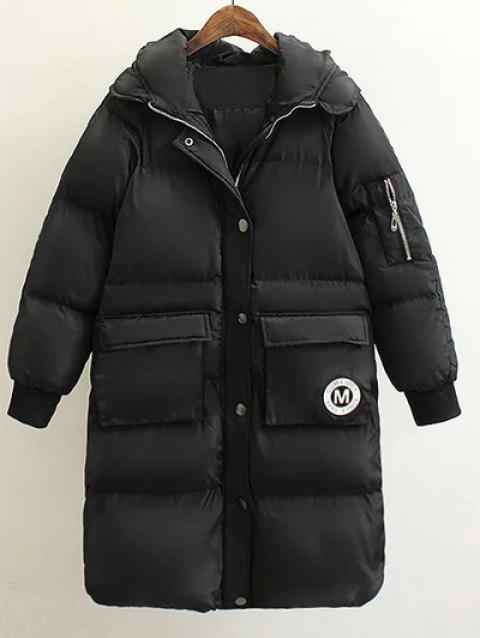 Patched Puffer Coat wtih Hood - BLACK M
