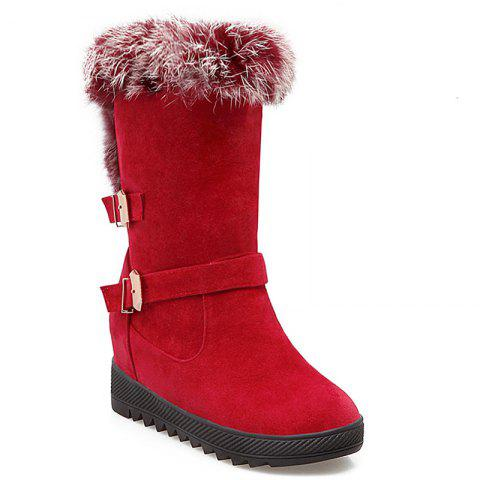 Hidden Wedge Buckles Faux Fur Snow Boots - RED 39