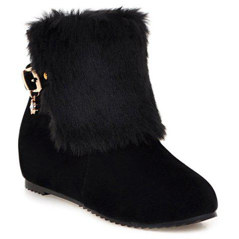 Faux Fur Buckle Hidden Wedge Short Boots - BLACK 37