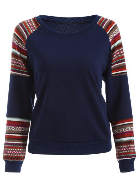Tribal Print Sleeve Crew Neck Sweatshirt - DEEP BLUE L