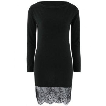 Lace Spliced Long Sleeves Bodycon Dress