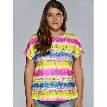 Plus Size Tie Dye T-Shirt - BLUE AND YELLOW XL
