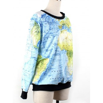 World Map 3D Print Sweatshirt - Azur M