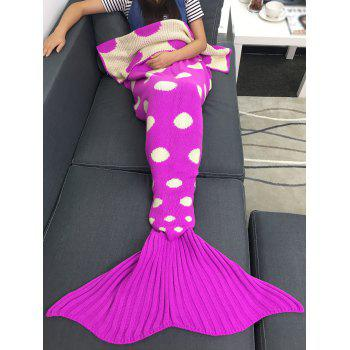 Super Soft Sleeping Bag Dot Pattern Knitting Mermaid Tail Blanket - ROSE RED