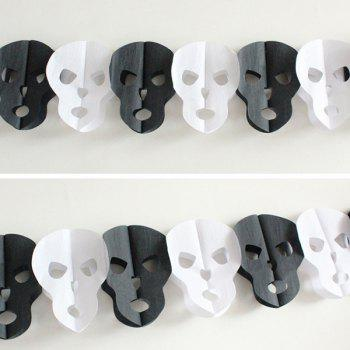 Halloween Party Supplies Paper Skull Cutting Prop Decoration - WHITE AND BLACK WHITE/BLACK