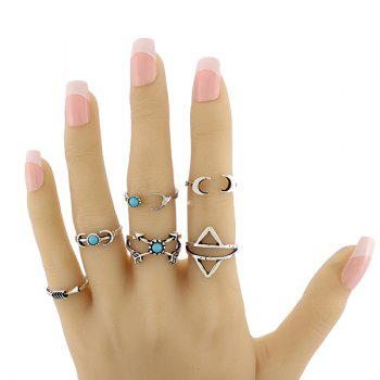 Faux Turquoise Triangle Moon Ring Set