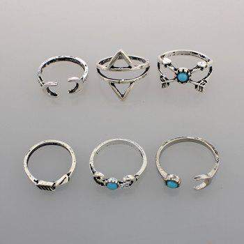 Faux Turquoise Triangle Moon Ring Set - SILVER ONE-SIZE
