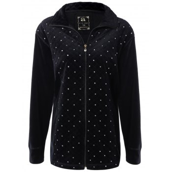 Plus Size Rhinestone Beaded Zip Up Jacket