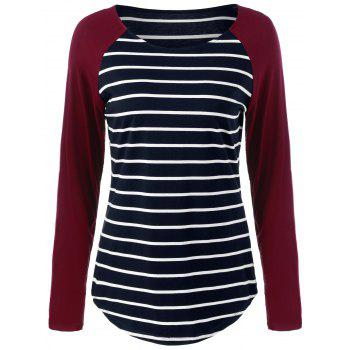 Raglan Sleeve Striped Comfy T-Shirt - STRIPE STRIPE