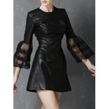 Lace Splicing Mini PU Dress - BLACK XL