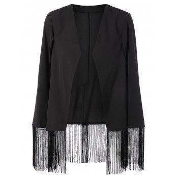 Asymmetric Fringed Cape Blazer