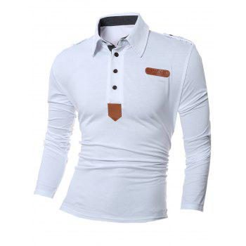 PU Leather Splicing Polo Collar Long Sleeve T-Shirt