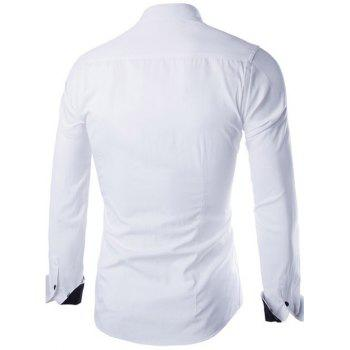 Slimming Color Block Button Design Long Sleeve Shirt - WHITE WHITE