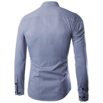 Slimming Color Block Button Design Long Sleeve Shirt - GRAY 3XL
