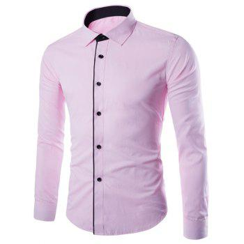 Slimming Color Block Button Design Long Sleeve Shirt - PINK PINK