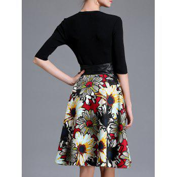 Knitted Top and  Leather Spliced Floral Flare Skirt Set - BLACK S