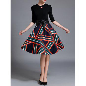 Buy Knitted Top Stripe Flare Skirt Set BLACK