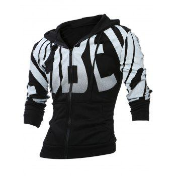 Graphic Print Zippered Long Sleeve Hoodie