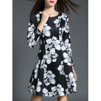 Long Sleeve Slimming Floral Print Dress