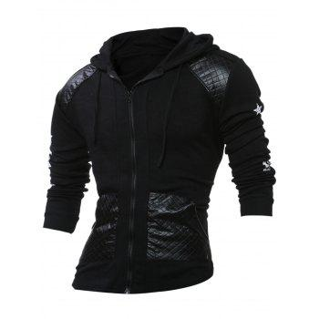 PU Leather Splicing Stars Print Zipper Hoodie