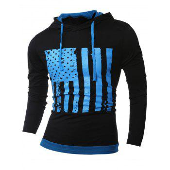 Color Block Stars and Stripes Pattern Long Sleeve Hoodie