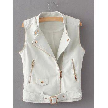 Zippered Faux Leather Biker Jacket - WHITE S