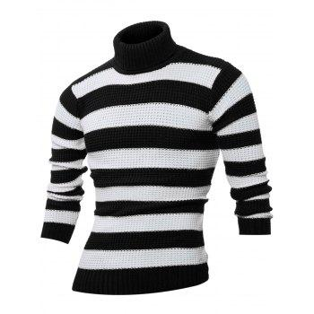 Turtle Neck Stripes Design Long Sleeves Sweater