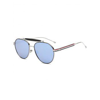 Cool Crossbar Striped Leg Pilot Mirror Sunglasses