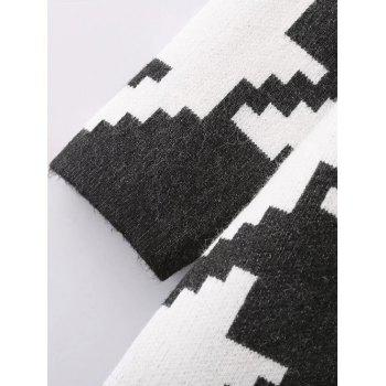 Longline Houndstooth Check Cardigan - BLACK ONE SIZE