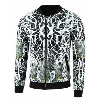 Zip Up Abstract Print Side Pocket Jacket