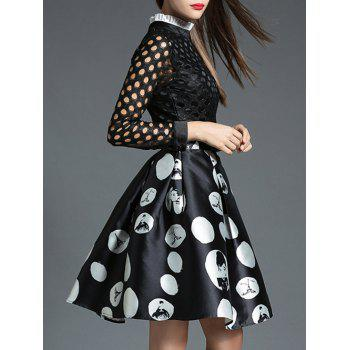 Polka Dot Openwork Spliced Dress - L L