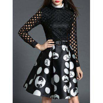 Polka Dot Openwork Spliced Dress - BLACK M