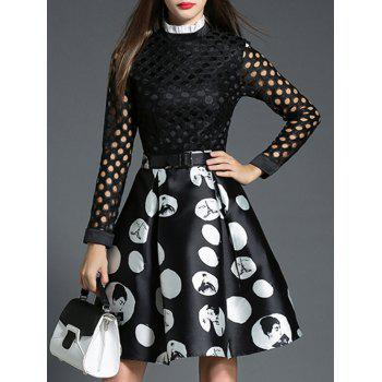 Polka Dot Openwork Spliced Dress - M M