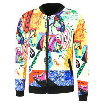 Zip Up Cartoon Printing Side Pocket Jacket