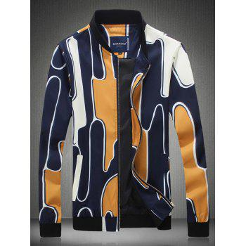 Stand Collar Abstract Printed Zippered Jacket