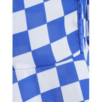 Gingham Fit and Flare Qipao Dress - BLUE BLUE