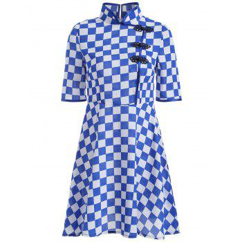 Gingham Fit and Flare Qipao Dress - BLUE L
