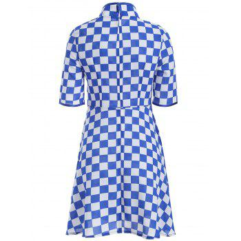 Gingham Fit and Flare Qipao Dress - M M